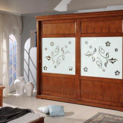 Armadio 2 porte scorrevoli specchio colorato con disegno immagine 1